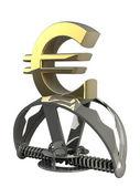 символ евро в ловушку, изолированные на белом фоне 3d — Стоковое фото