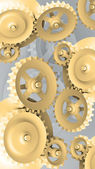 A Mechanical Background with Gears and Cogs 3d — Stock Photo