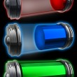 Three transparent batteries standing upright on a black reflective surface with each showing a different power level 3d — Stock Photo