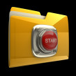 Yellow folder with Red START button isolated on black background High resolution 3D — Stock Photo #9815507