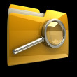 Folder and file search with magnifying glass. 3D icon isolated on black background — Stock Photo #9815512