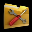 Yellow folder Screwdriver and Wrench icon isolated on black background High resolution 3D — Stock Photo