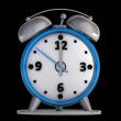 Stock Photo: Alarm clock isolated on black background High reolution 3d