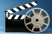Film and clap board movies symbol. High resolution. 3D image — Stock Photo