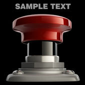 Red button closeup isolated on black. High resolution. 3D image — Stock Photo