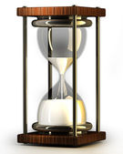 Closeup of hourglass in warm on white background 3d render — Stock Photo