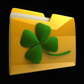 Yellow folder icon with clover isolated on black background High resolution 3D — Stock Photo