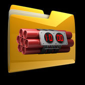 Yellow folder with Explosives alarm clock isolated on black background High resolution 3D — Stock Photo