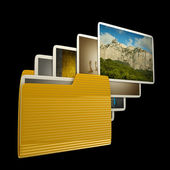 Uploading photos from folder. isolated on black background High resolution 3D — Stock Photo
