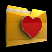 Yellow folder with red Heart isolated on black background High resolution 3D — Stok fotoğraf