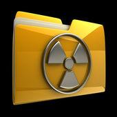 žluté složky záření výstražné znamení ikona izolovaných na černém pozadí s vysokým rozlišením 3d — Stock fotografie