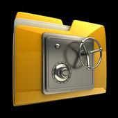 文件夹图标与安全锁定拨号隔离上黑色背景高分辨率的 3d 图 3d — 图库照片