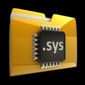 Bilgisayar mikroçip siyah arka plan üzerinde yüksek çözünürlüklü izole sarı klasör 3d — Stok fotoğraf