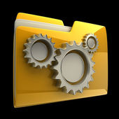 Folder icon with gear wheels, over black background High resolution 3D — Stock Photo