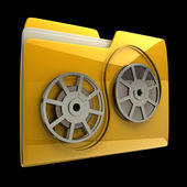 Yellow folder Cinema film roll icon isolated on black background High resolution 3D — Stock Photo
