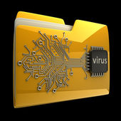 3D Yellow folder Computer microchip isolated on black background High resolution — Stock Photo