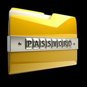 3d illustration of folder icon with security password isolated on black background High resolution 3D — Stock Photo