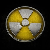 Radiation Alert sign isolated on black background High resolution 3D — Stock Photo