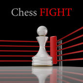 Concept. chess pawn on a boxing ring 3D render (Hi-Res). background — Foto Stock