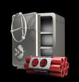 Steel bank safe with Explosives alarm clock isolated on black background High resolution 3D — Stock Photo
