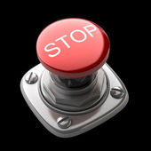 Czerwony przycisk stop na białym tle wysokiej rozdzielczości. obraz 3d — Zdjęcie stockowe