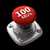 Red button Isolated High resolution. 3D image — Stock Photo
