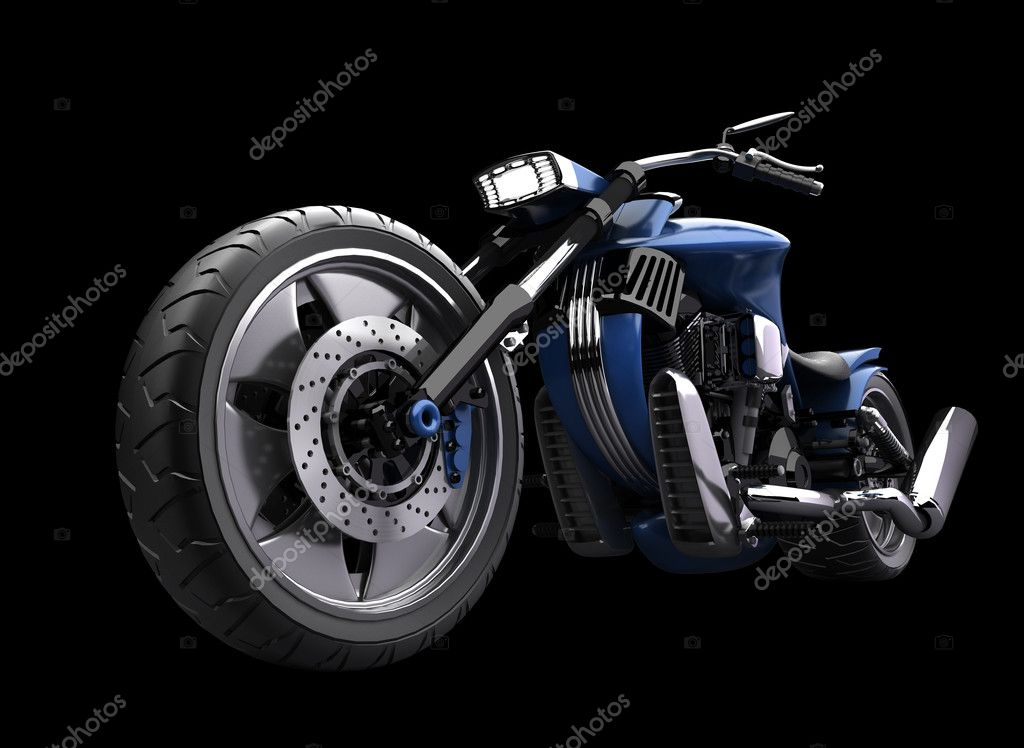 Concept motorcycle isolated on black background (No trademark issues is my own design) High resolution 3D — Stock Photo #9815067