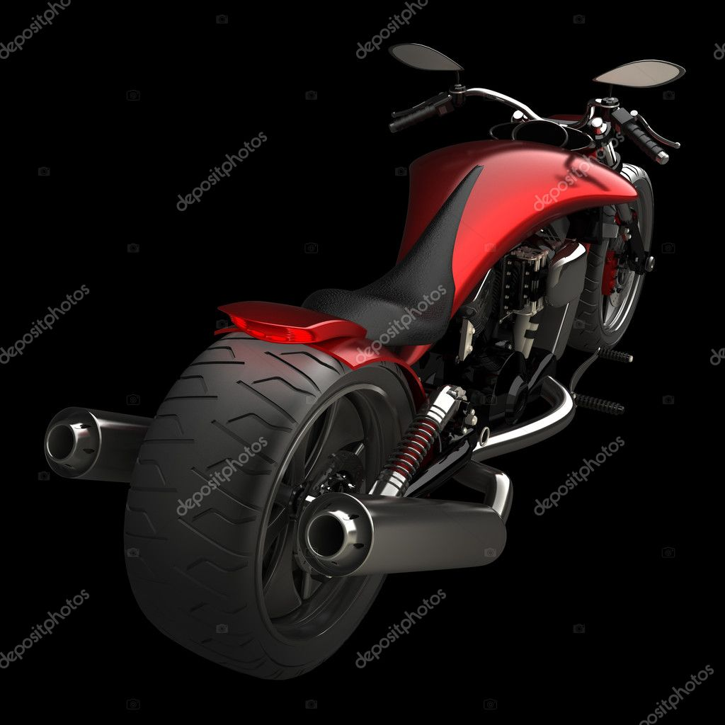 Concept motorcycle isolated on black background (No trademark issues is my own design) High resolution 3D — Stock Photo #9815071