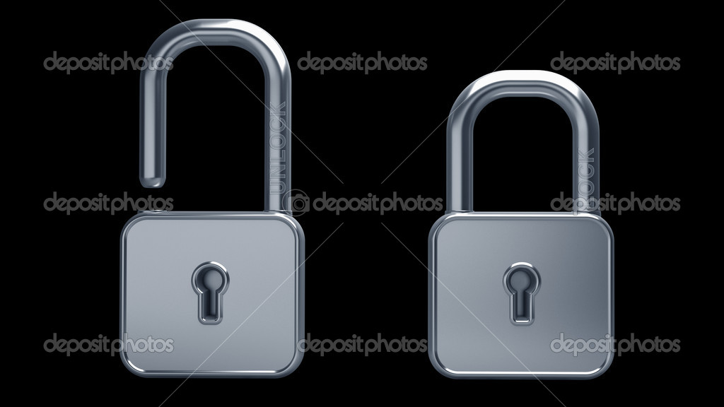 Silver lock 3d model illustration isolated High resolution. 3D image  Stock Photo #9815394