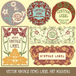 Stock Vector: Label art nouveau
