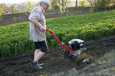 The farmer with a motor-cultivator — Stock Photo