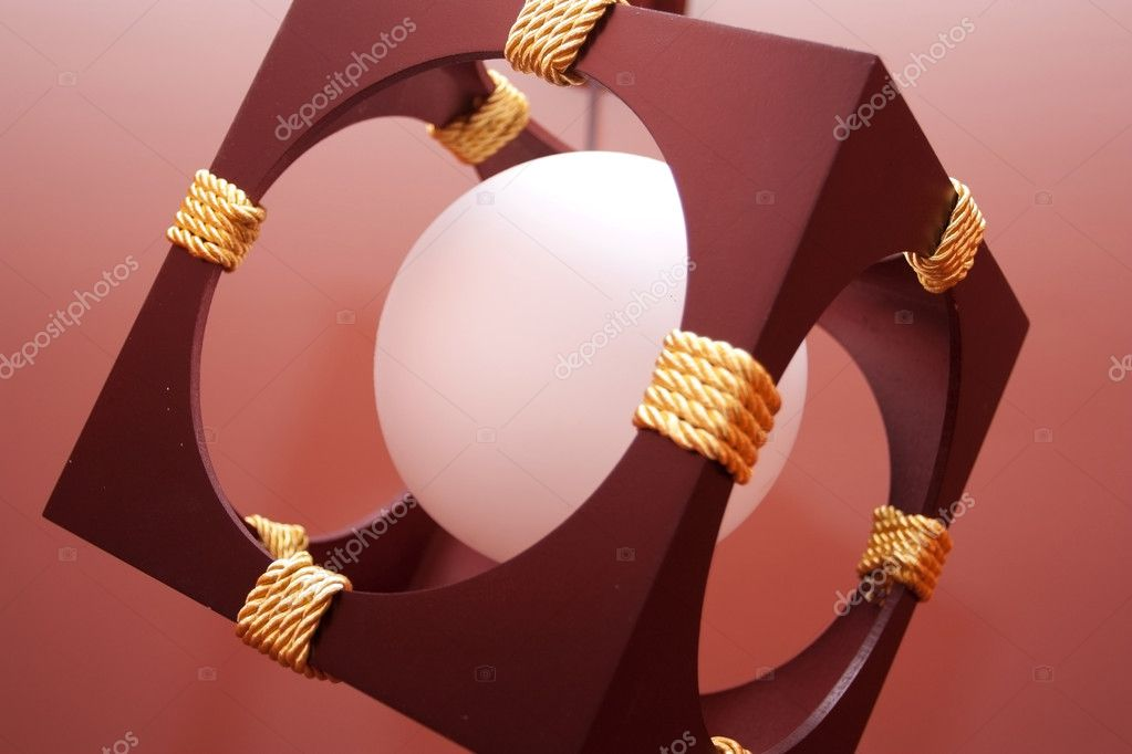 Bright chandelier in the form of a sphere on a ceiling — Stock Photo #10521876