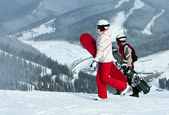 Preparation of on snowboards — Stock Photo