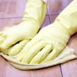 Stock Photo: Cleaning of a kitchen tile