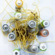 Stock Photo: Wires with electrical batteries