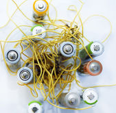 Wires with electrical batteries — Stock Photo