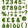 Green alphabet - Numbers and Symbols — Stock Photo