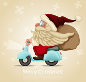 Motorized santa Claus delivery the gifts — Stockvector