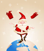 Santa Claus Joyful with gifts — Stock Vector