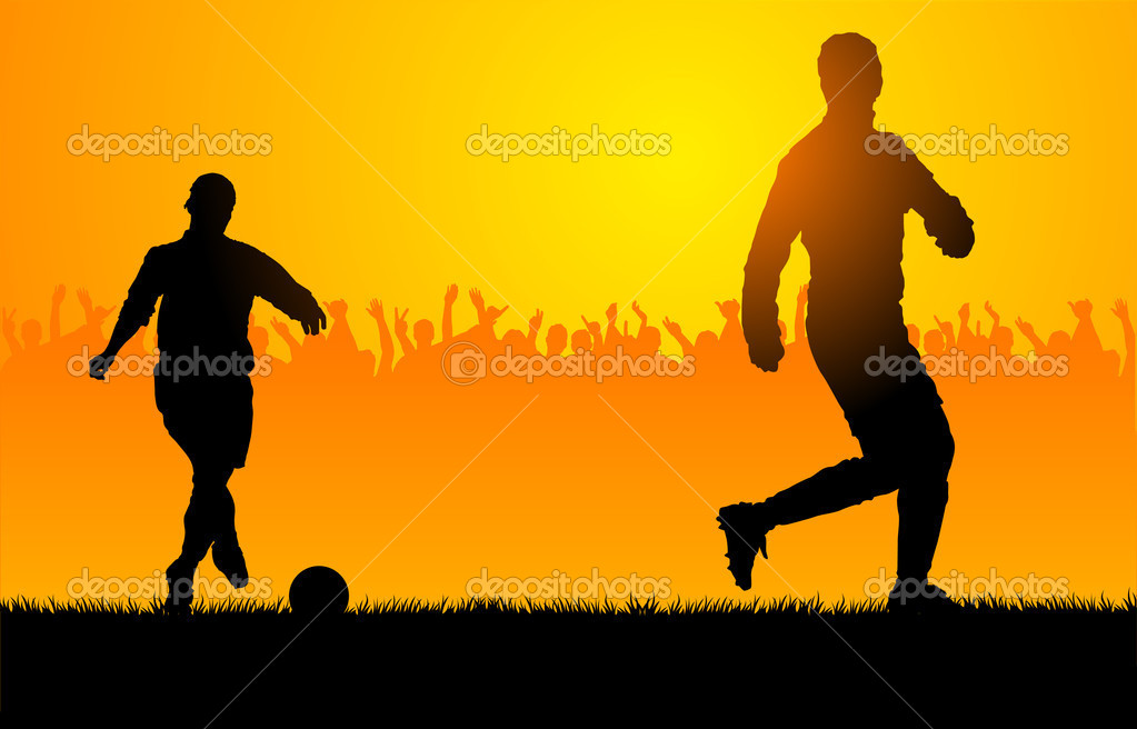 Backlighting shapes of men who play to soccer — Stock Vector #8610794