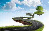 De weg naar de boom — Stockfoto