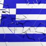 Broken Greek flag — Stock Photo #9227737