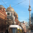 View of Tv Tower of Berlin throught a street - Germany - Stok fotoğraf