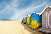 Bathing boxes on Brighton beach next to Melbourne, Australia — Stock Photo