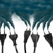 Pollution smoke going out a plug - Pollution/Ecology Concept — Stockfoto