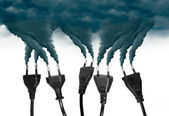Pollution smoke going out a plug - Pollution/Ecology Concept — Foto Stock