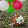Stock Photo: White bridal bouquet and balloons in the basket