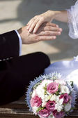Hands of the bride and groom with wedding rings — Foto Stock