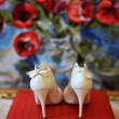 White wedding shoes bride — Stock Photo