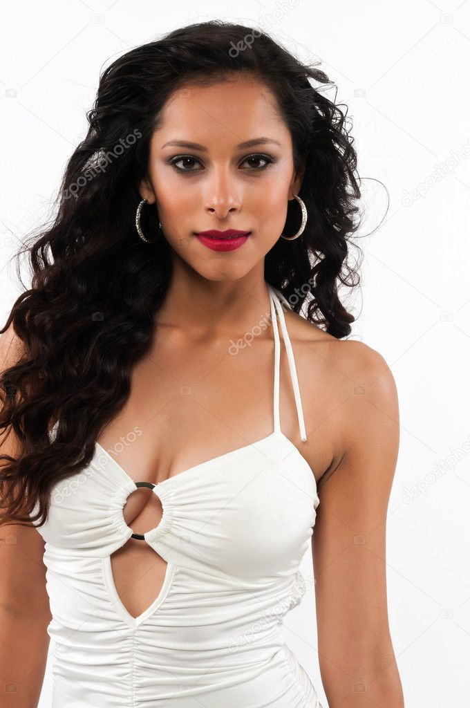 Pretty young Latina in a long white gown — Stock Photo #10432859